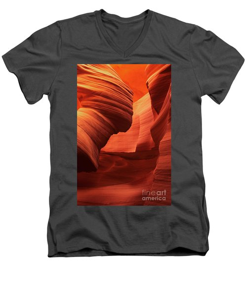Men's V-Neck T-Shirt featuring the photograph Sculpted Sandstone Upper Antelope Slot Canyon Arizona by Dave Welling