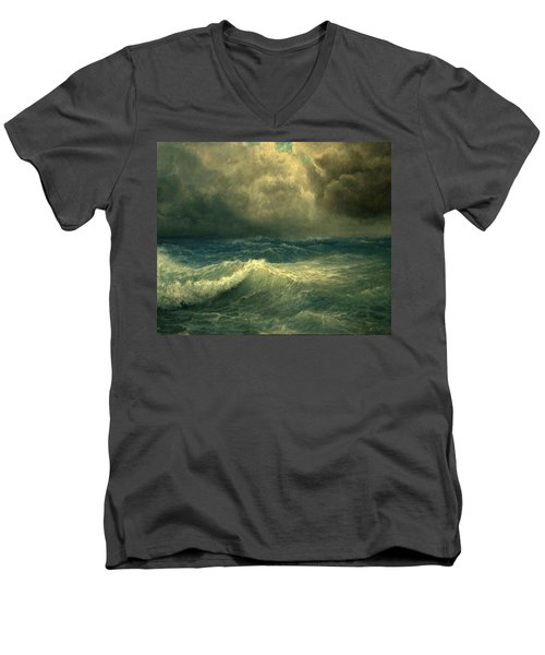 Men's V-Neck T-Shirt featuring the painting Sea And Sky by Mikhail Savchenko