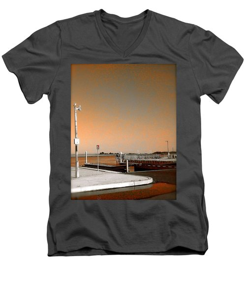 Men's V-Neck T-Shirt featuring the photograph Sea Gulls Watching Over The Wetlands In Orange by Amazing Photographs AKA Christian Wilson