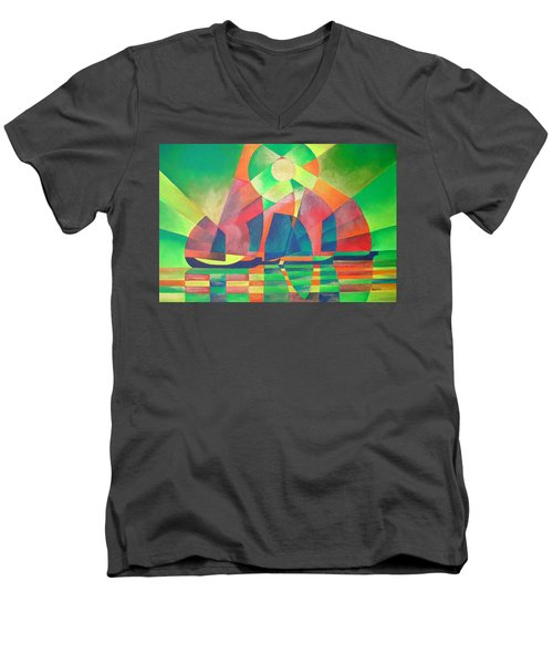 Men's V-Neck T-Shirt featuring the painting Sea Of Green by Tracey Harrington-Simpson