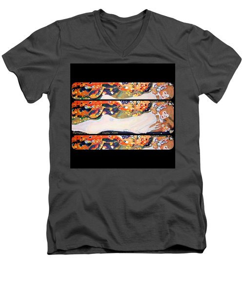 Sea Serpent IIi Tryptic After Gustav Klimt Men's V-Neck T-Shirt by Anna Porter