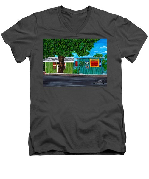 Men's V-Neck T-Shirt featuring the painting Sea-view Cafe by Laura Forde