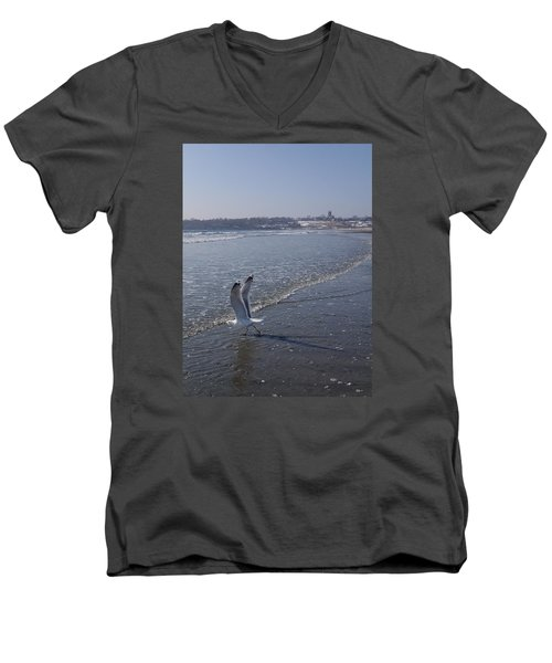 Men's V-Neck T-Shirt featuring the photograph Seagull 1 by Robert Nickologianis
