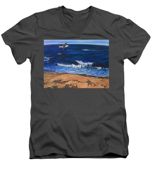 Seagull Flying Along The Surf Men's V-Neck T-Shirt
