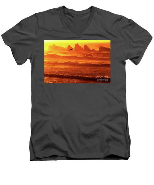 Men's V-Neck T-Shirt featuring the photograph Seagull Soaring Over The Surf At Sunset Oregon Coast by Dave Welling