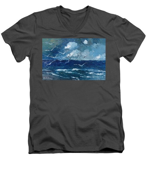 Men's V-Neck T-Shirt featuring the painting Seagulls Over Adriatic Sea by AmaS Art