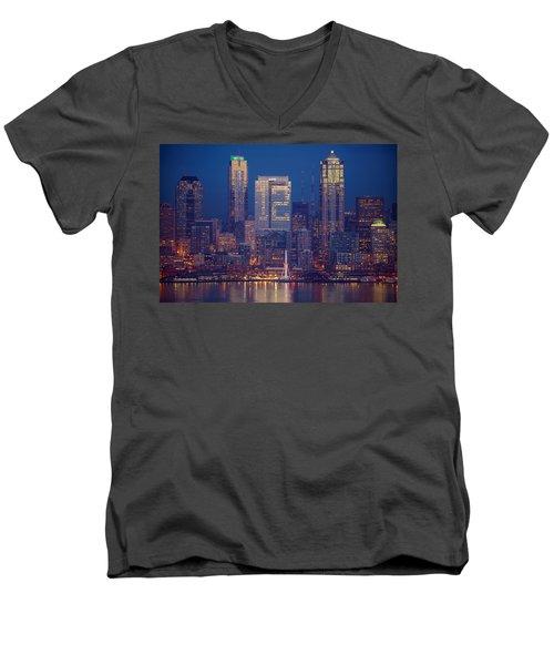 Seahawks 12th Man Seattle Skyline At Dusk Men's V-Neck T-Shirt by Mike Reid