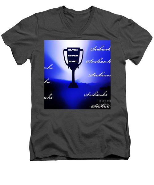 Men's V-Neck T-Shirt featuring the photograph Seahawks Super Bowl Champions by Eddie Eastwood