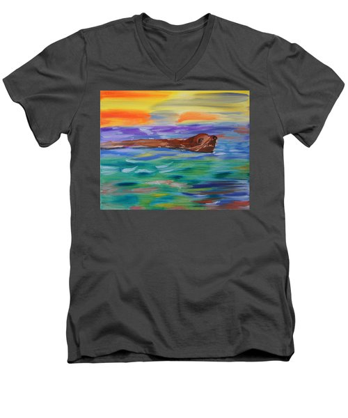 Men's V-Neck T-Shirt featuring the painting Sunny Sea Lion by Meryl Goudey