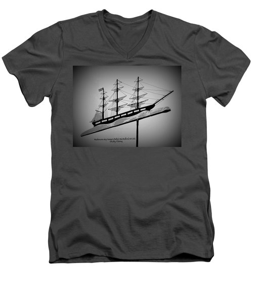 Men's V-Neck T-Shirt featuring the photograph Seaman's Bethel Weathervane  by Kathy Barney