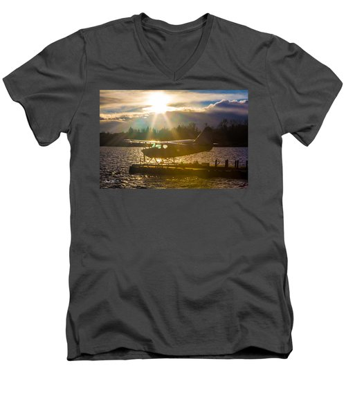 Seaplane Sunset Men's V-Neck T-Shirt by Charlie Duncan