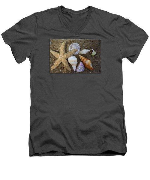 Seashells And Star Fish Men's V-Neck T-Shirt by Dora Sofia Caputo Photographic Art and Design