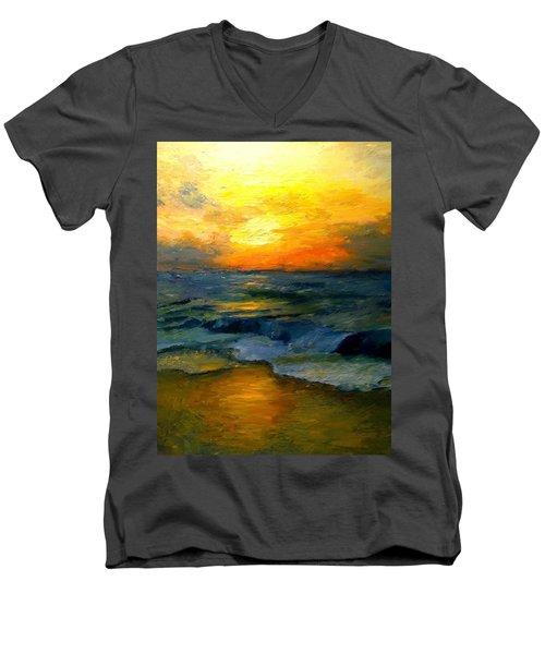 Seaside Sunset Men's V-Neck T-Shirt by Gail Kirtz