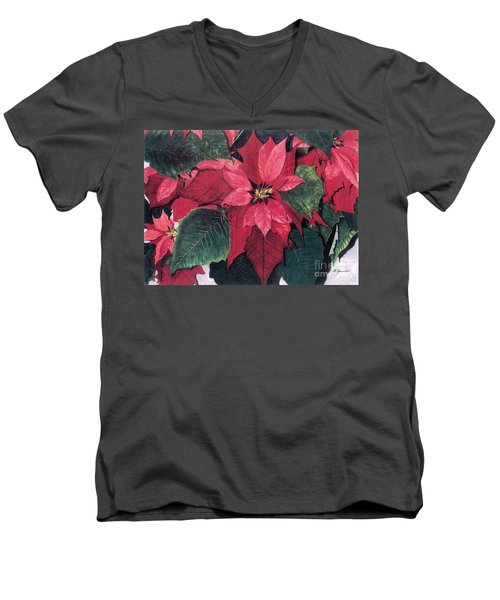 Men's V-Neck T-Shirt featuring the painting Seasonal Scarlet 2 by Barbara Jewell