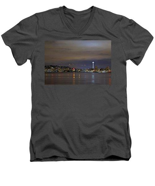 Seattle Cityscape At Night Men's V-Neck T-Shirt