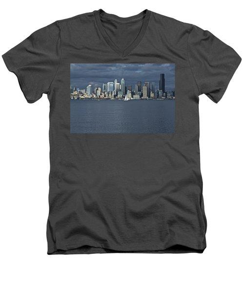 Seattle Cityscape From Alki Beach Men's V-Neck T-Shirt