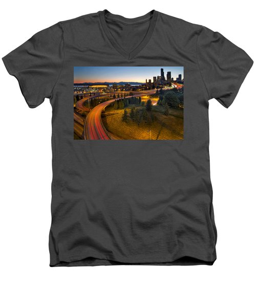 Men's V-Neck T-Shirt featuring the photograph Seattle Downtown Highway Traffic Light Trails by JPLDesigns