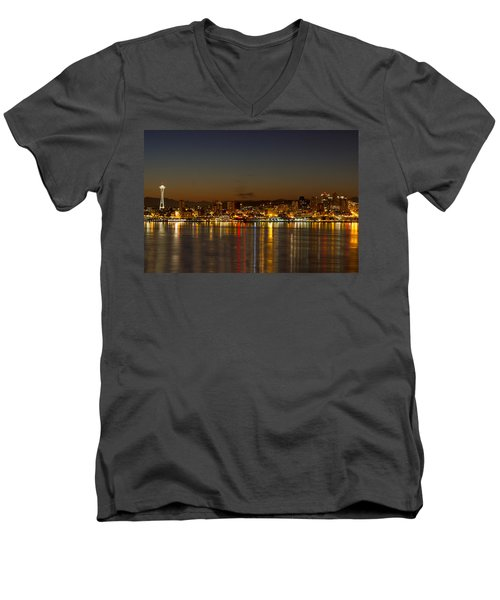 Men's V-Neck T-Shirt featuring the photograph Seattle Downtown Skyline Reflection At Dawn by JPLDesigns
