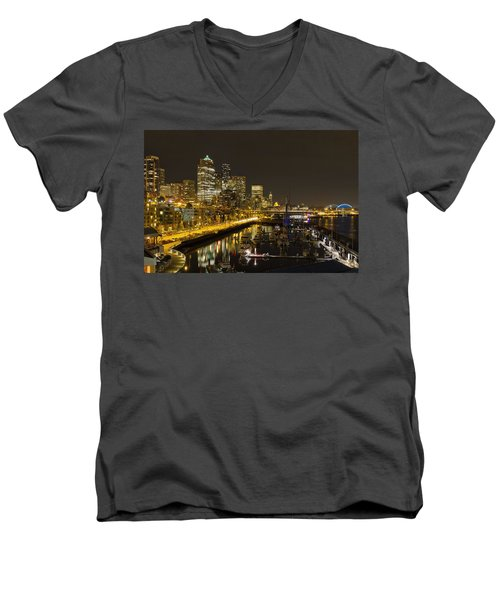 Men's V-Neck T-Shirt featuring the photograph Seattle Downtown Waterfront Skyline At Night Reflection by JPLDesigns