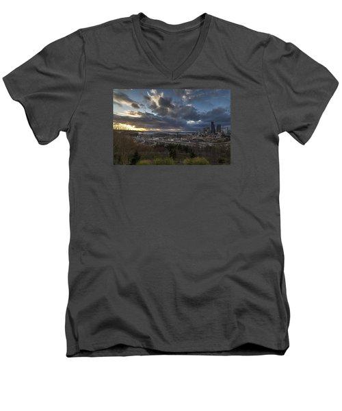 Seattle Dramatic Dusk Men's V-Neck T-Shirt by Mike Reid
