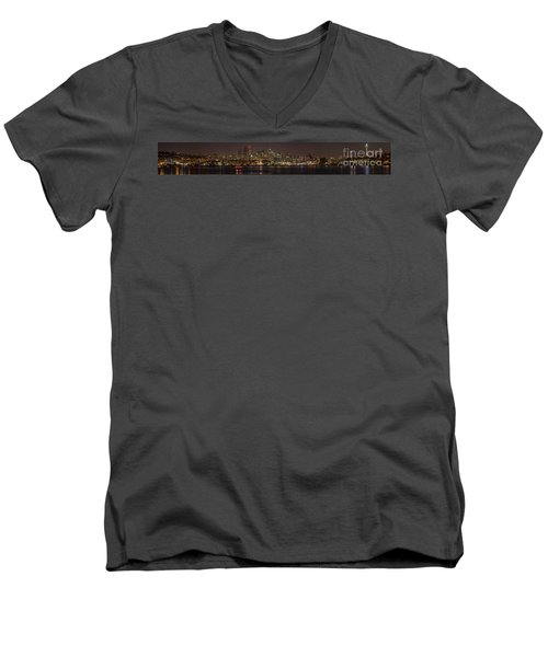 Seattle Lake Union Winter Reflection Men's V-Neck T-Shirt