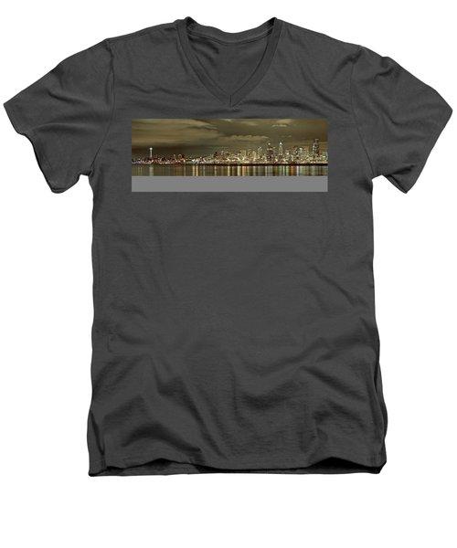 Seattle Lights At Night From Alki Men's V-Neck T-Shirt
