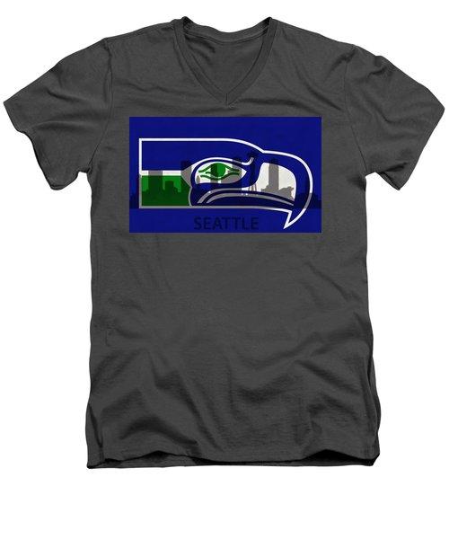 Seattle Seahawks On Seattle Skyline Men's V-Neck T-Shirt