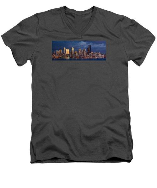 Seattle Skyline Sunset Detail Men's V-Neck T-Shirt by Mike Reid