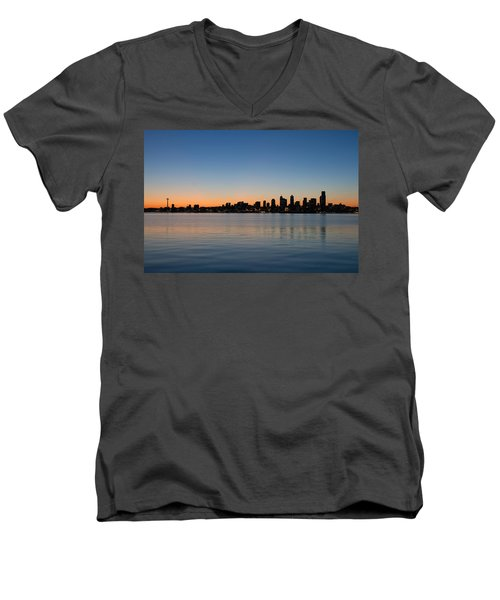 Men's V-Neck T-Shirt featuring the photograph Seattle Washington Waterfront Skyline At Sunrise Panorama by JPLDesigns