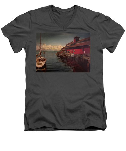 Seattle Waterfront Men's V-Neck T-Shirt by Thu Nguyen