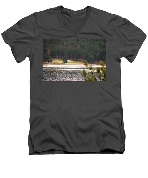 Men's V-Neck T-Shirt featuring the photograph Secluded Cabin by Mary Carol Story