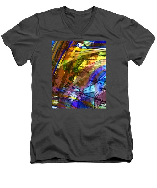 Men's V-Neck T-Shirt featuring the painting Secret Animal by Richard Thomas