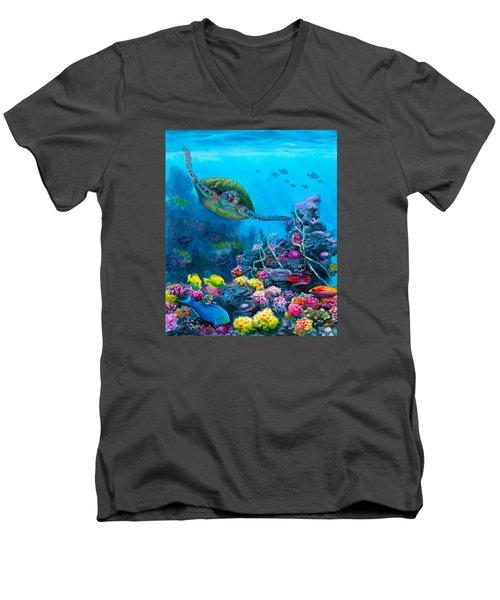 Secret Sanctuary - Hawaiian Green Sea Turtle And Reef Men's V-Neck T-Shirt by Karen Whitworth