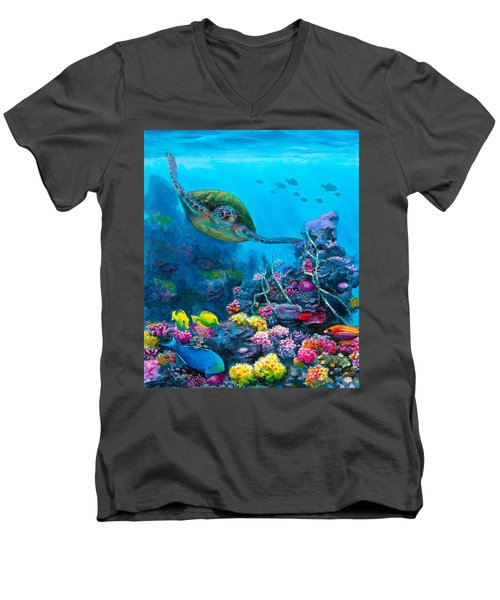 Secret Sanctuary - Hawaiian Green Sea Turtle And Reef Men's V-Neck T-Shirt