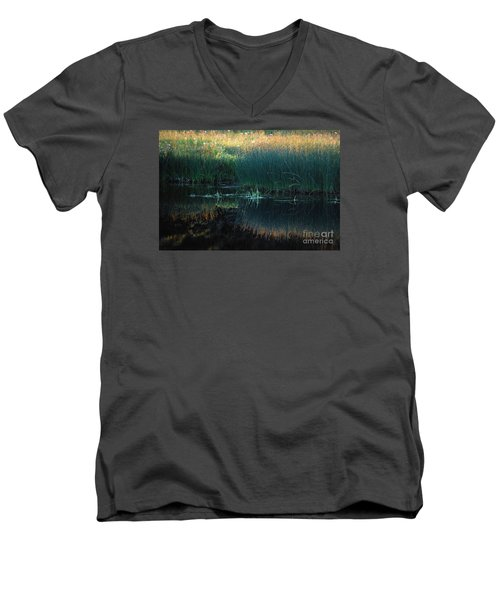 Men's V-Neck T-Shirt featuring the photograph Sedges At Sunset by Cynthia Lagoudakis