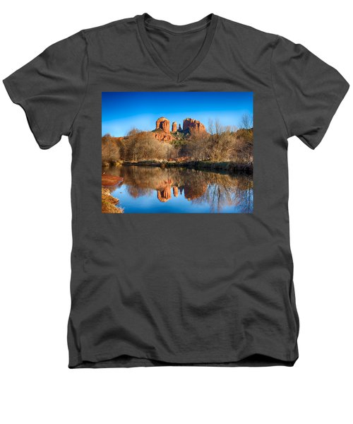 Sedona Winter Reflections Men's V-Neck T-Shirt