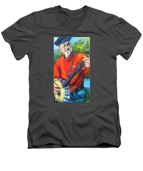 Men's V-Neck T-Shirt featuring the painting Seeger by Les Leffingwell