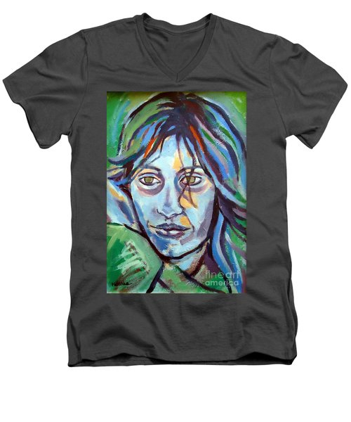 Men's V-Neck T-Shirt featuring the painting Self Portrait by Helena Wierzbicki