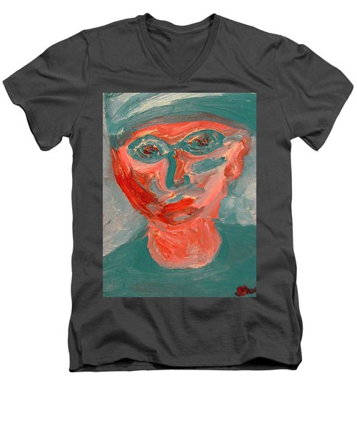 Self Portrait In Turquoise And Rose Men's V-Neck T-Shirt