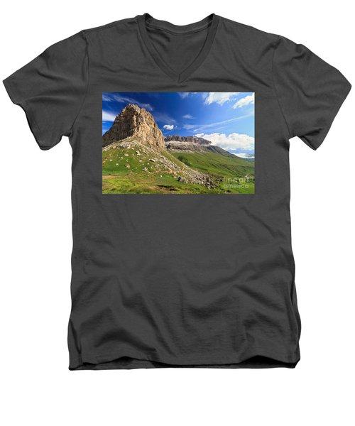 Men's V-Neck T-Shirt featuring the photograph Sella Mountain And Pordoi Pass by Antonio Scarpi