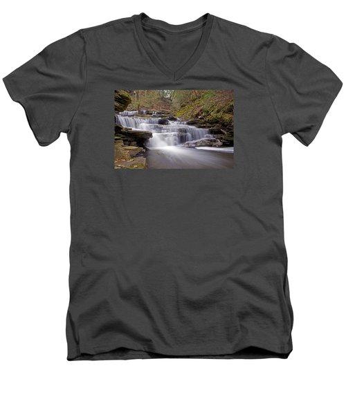 Seneca Falls In Spring Men's V-Neck T-Shirt by Shelly Gunderson