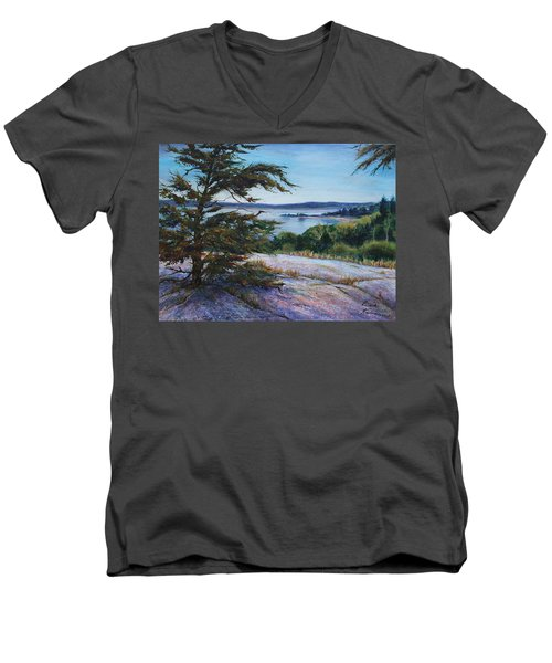 Men's V-Neck T-Shirt featuring the painting Sentinal by Ruth Kamenev