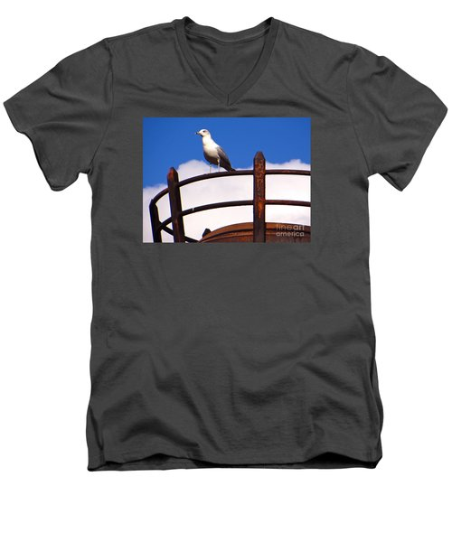 Men's V-Neck T-Shirt featuring the photograph Sentinel Sea Gull by Joy Hardee