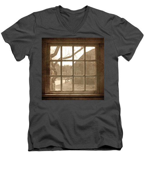 Sepia Colonial Scene Through Antique Window Men's V-Neck T-Shirt by Brooke T Ryan