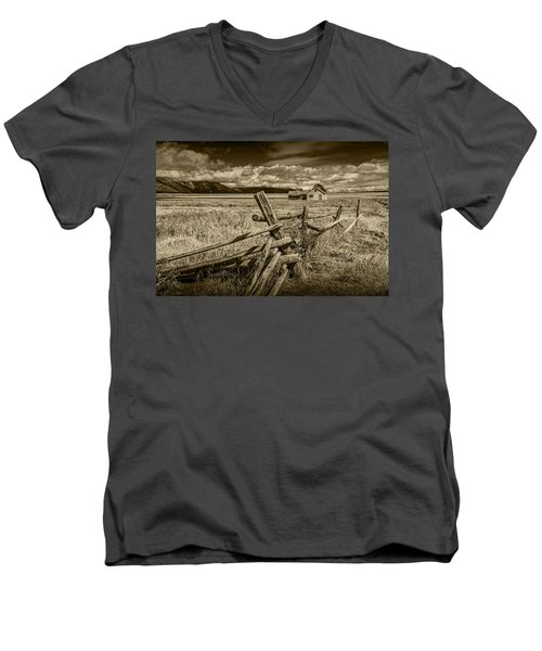 Sepia Colored Photo Of A Wood Fence By The John Moulton Farm Men's V-Neck T-Shirt