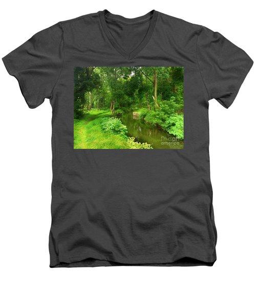 Serene Reflections Men's V-Neck T-Shirt by Becky Lupe