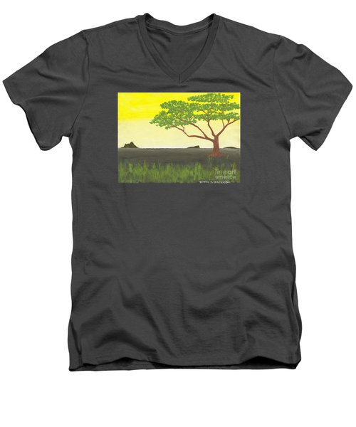Serengeti Men's V-Neck T-Shirt by David Jackson