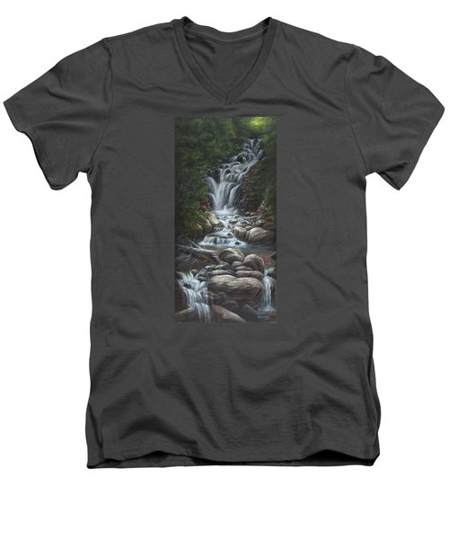 Men's V-Neck T-Shirt featuring the painting Serenity by Kim Lockman