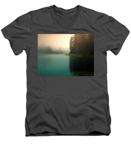 Serenity On Blue Lake Foggy Afternoon Men's V-Neck T-Shirt by Joyce Dickens