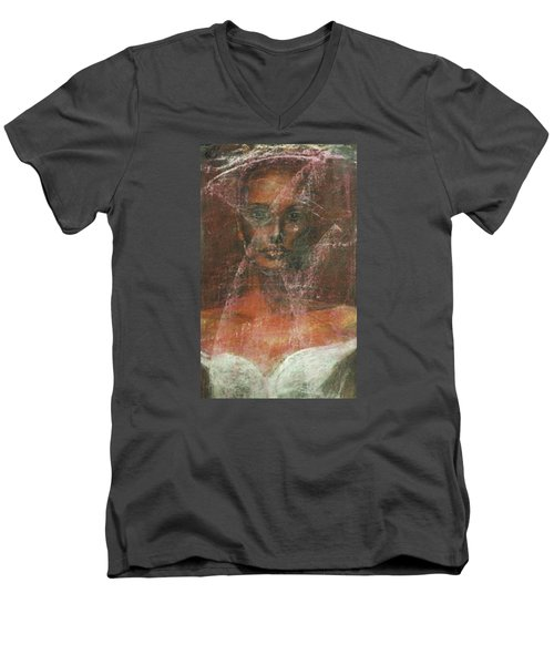 Men's V-Neck T-Shirt featuring the painting Serious Bride Mirage  by Jarmo Korhonen aka Jarko